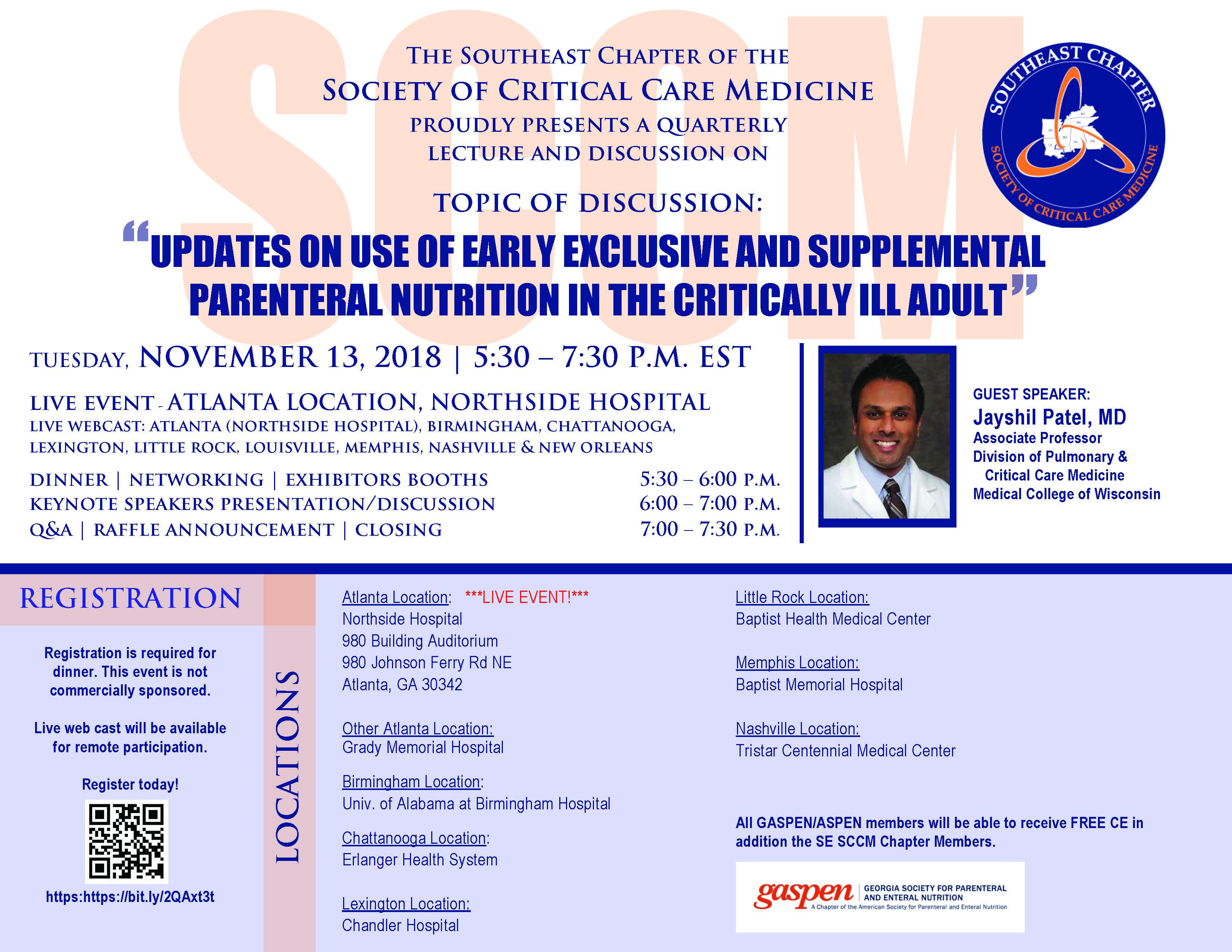 """SCCM SE November 2018 Chapter Metting: """"Updates on Nutrition"""